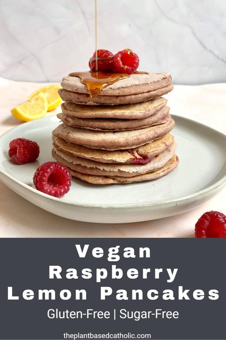 Vegan Raspberry Lemon Pancakes Pinterest Graphic