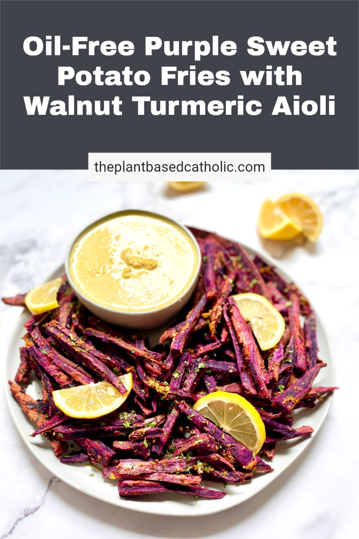 Oil-Free Purple Sweet Potato Fries Pinterest Graphic