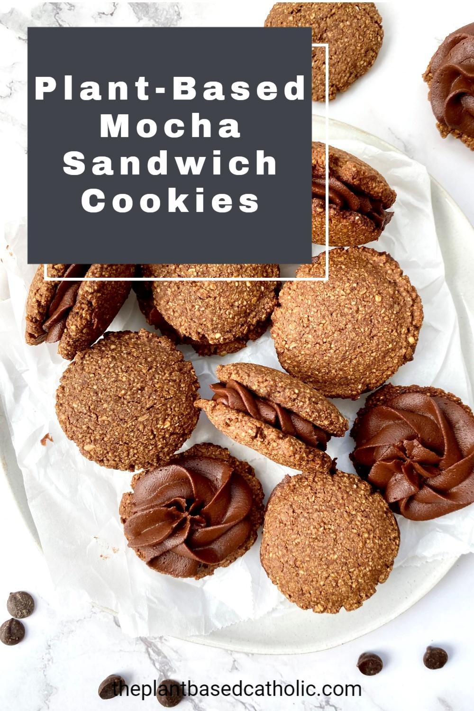 Plant-Based Mocha Sandwich Cookies Pinterest Graphic