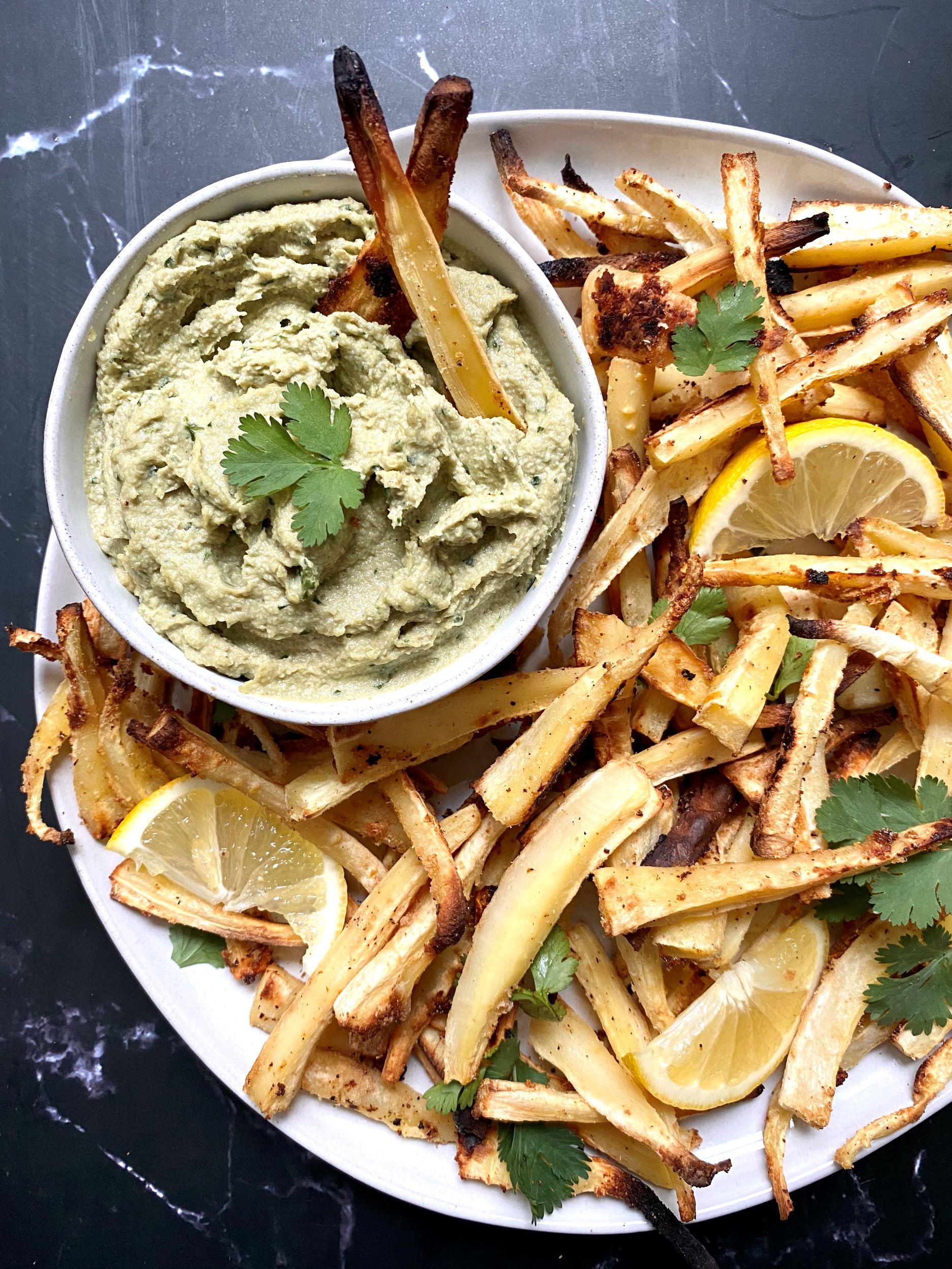 Garlic Parsnip Fries with Creamy Vegan Avocado Dip