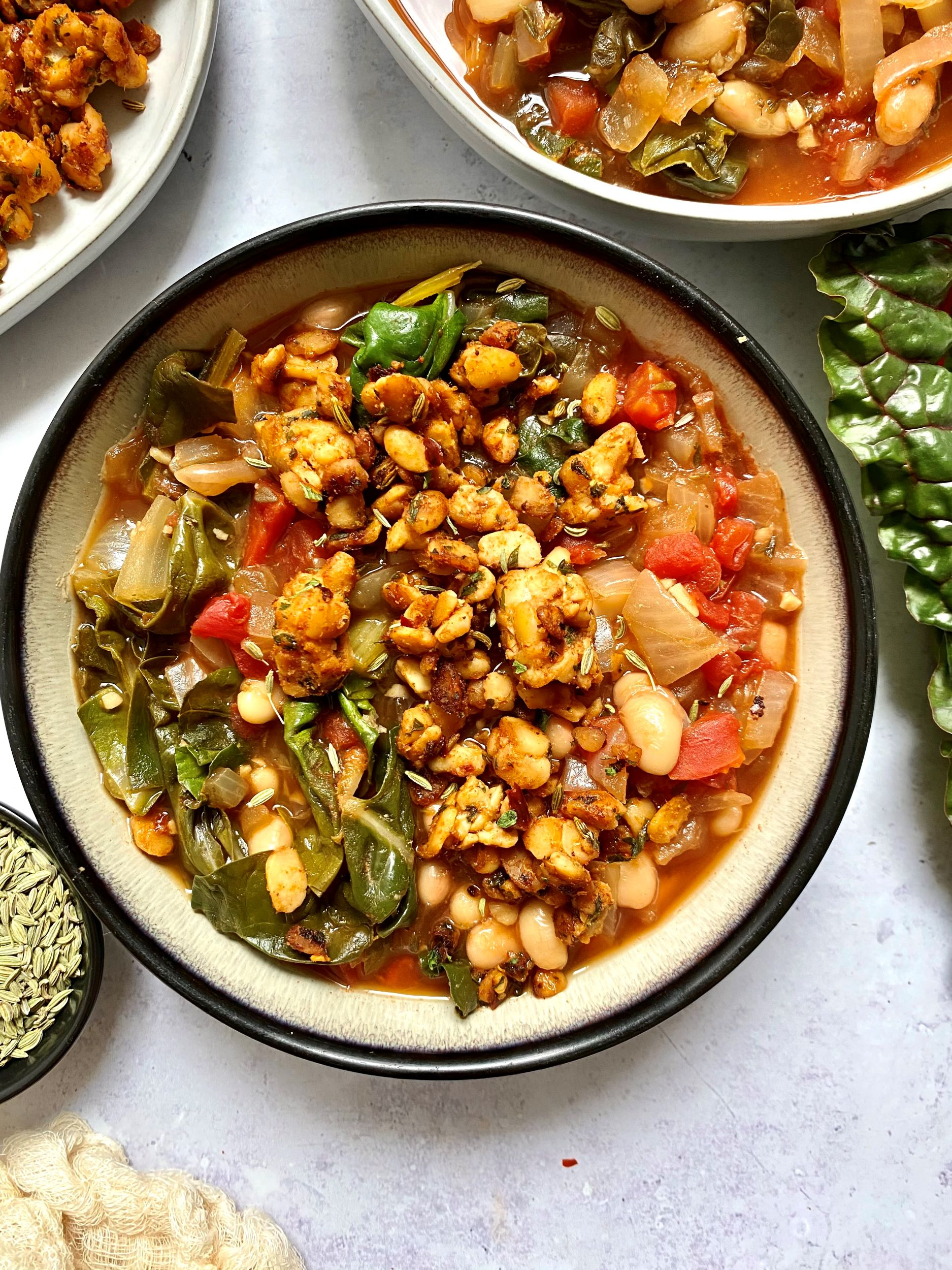 White Beans and Rainbow Chard with Italian Tempeh Sausage