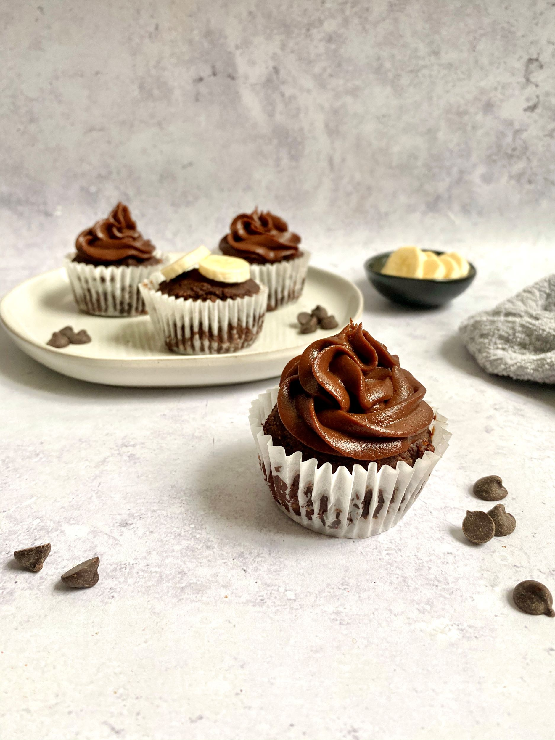 Plant-Based Chocolate Chip Muffins with Chocolate Frosting