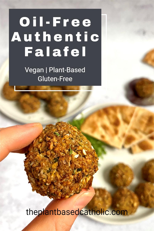 Oil-Free Authentic Falafel Pinterest Graphic