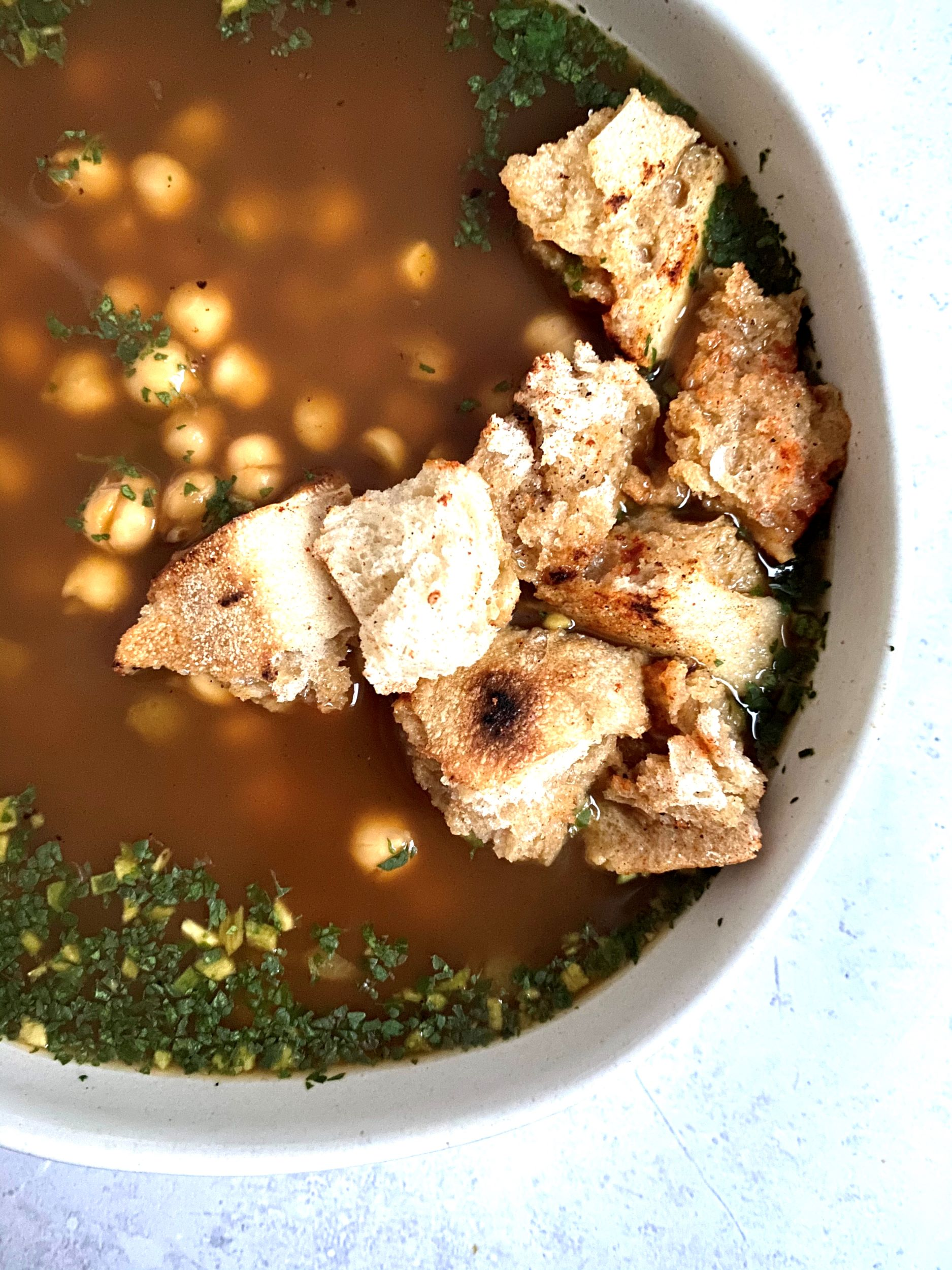 Plant-Based Garlic Cilantro Soup with Chickpeas