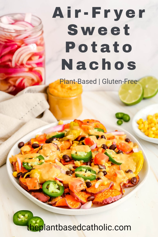 Air Fryer Sweet Potato Nachos Pinterest Graphic