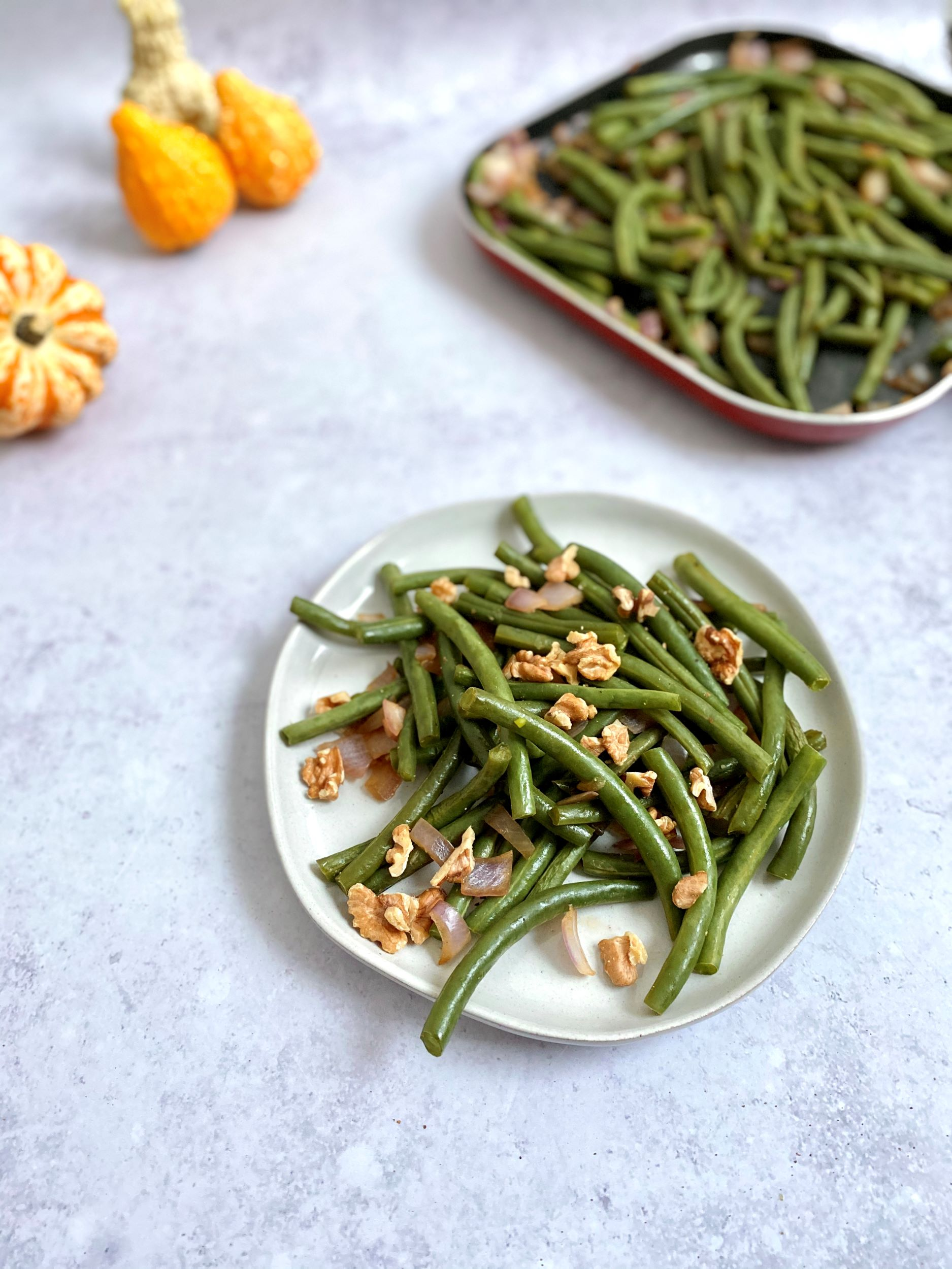 Oil-Free Green Beans with Caramelized Onions and Walnuts
