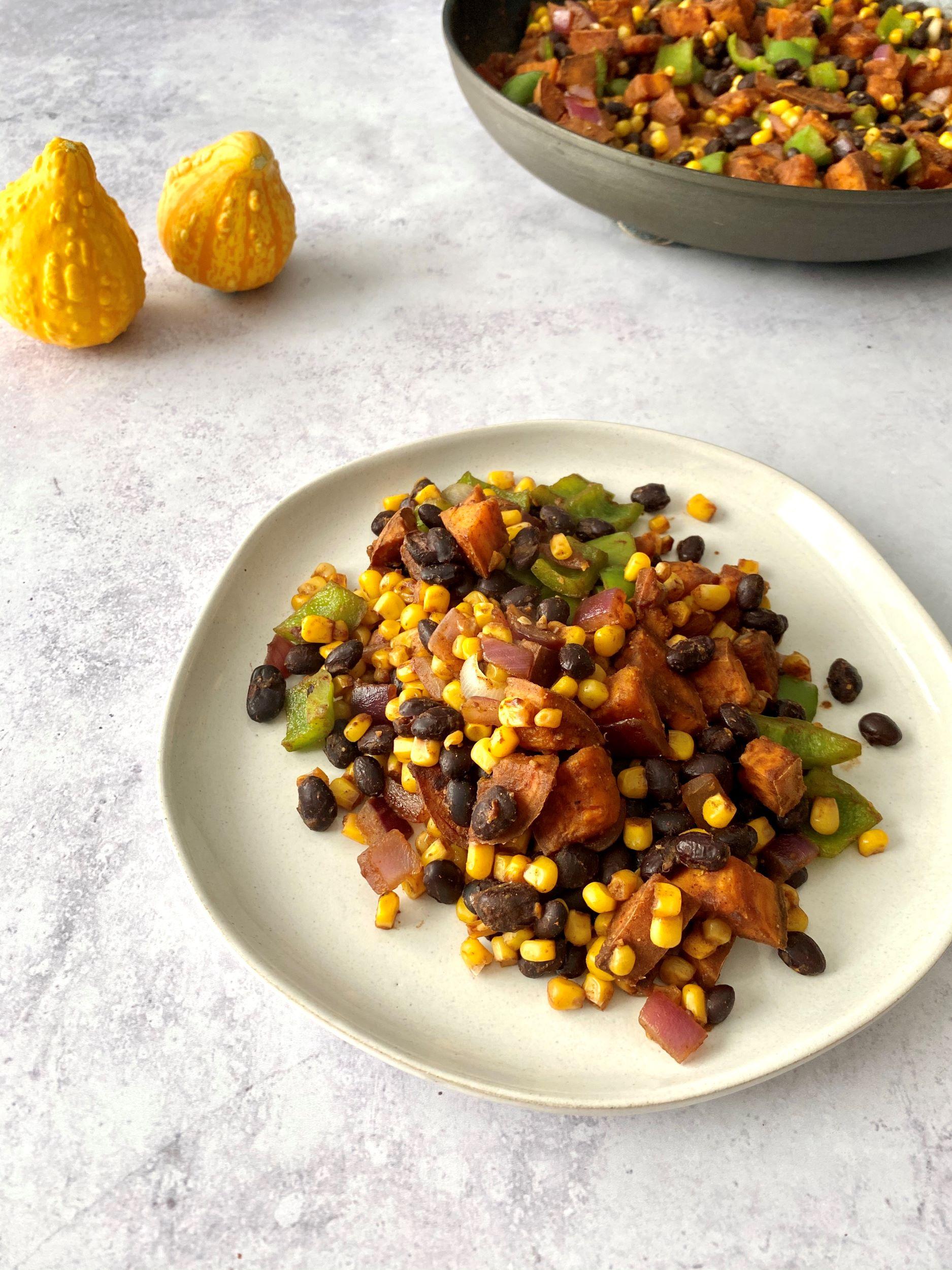 Oil-Free Sweet Potato Black Bean Breakfast Hash
