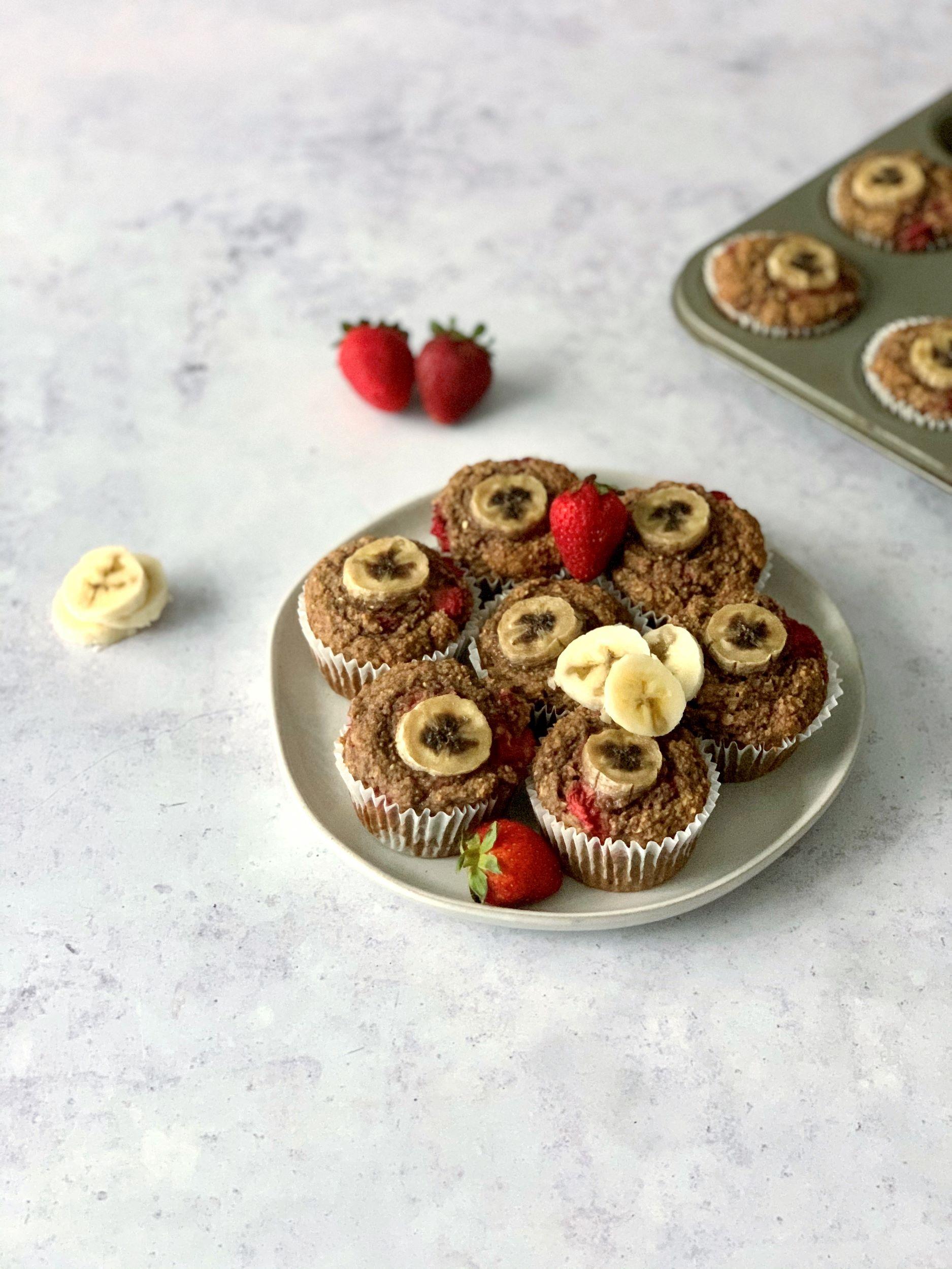 Plant-Based Strawberry Banana Muffins