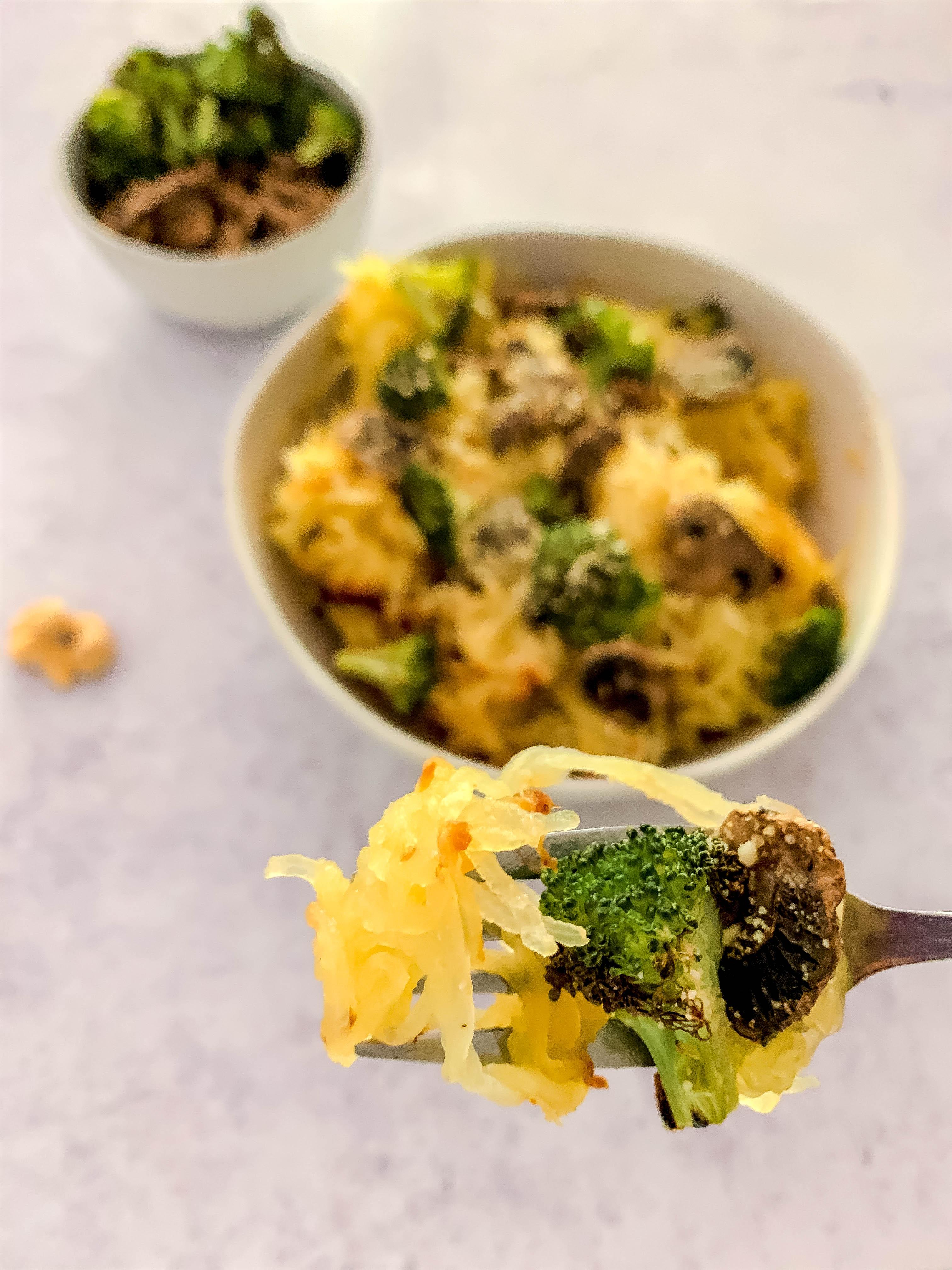 Plant-Based Broccoli Parmesan Spaghetti Squash