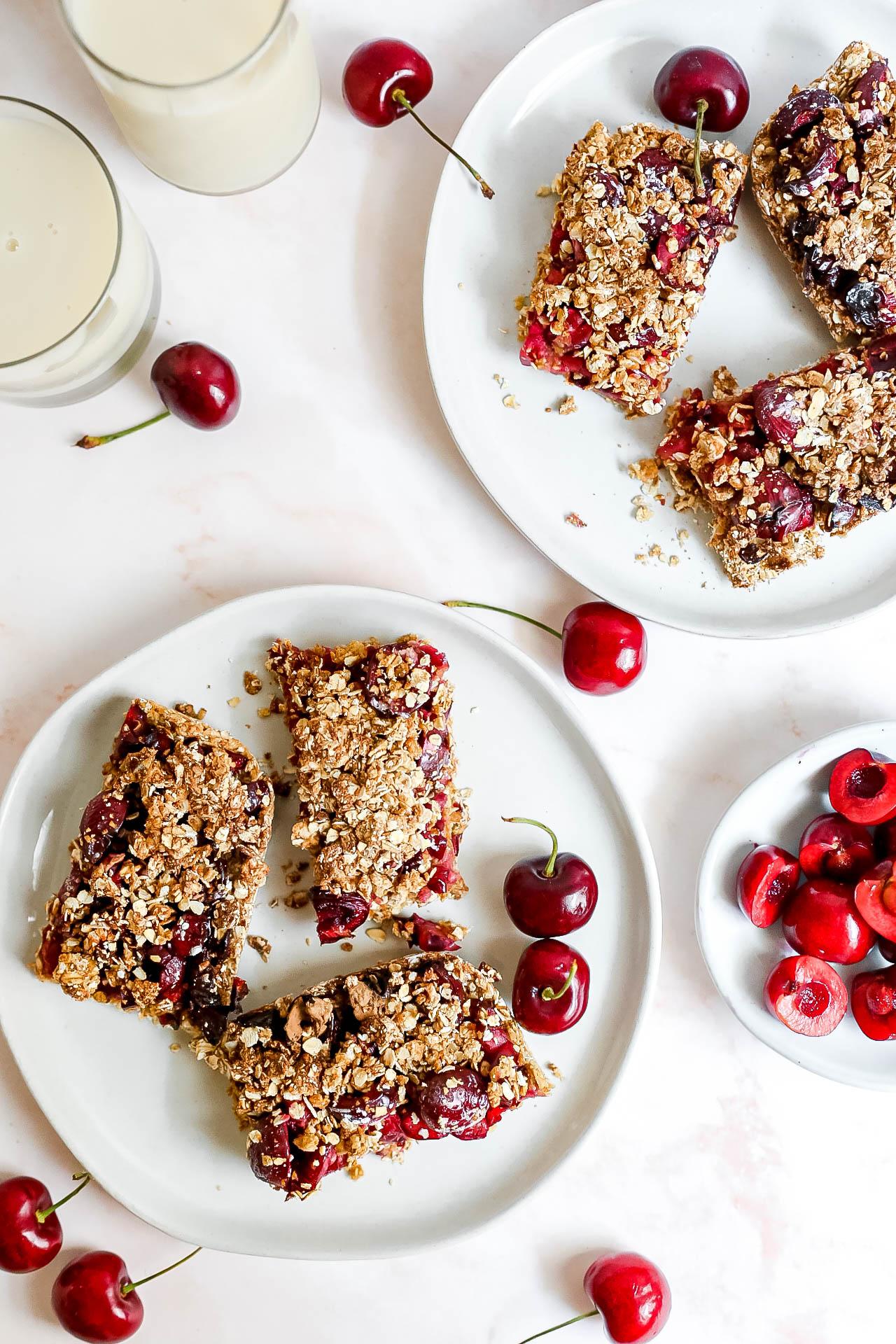 Plant-Based Cherry Crumble Bars