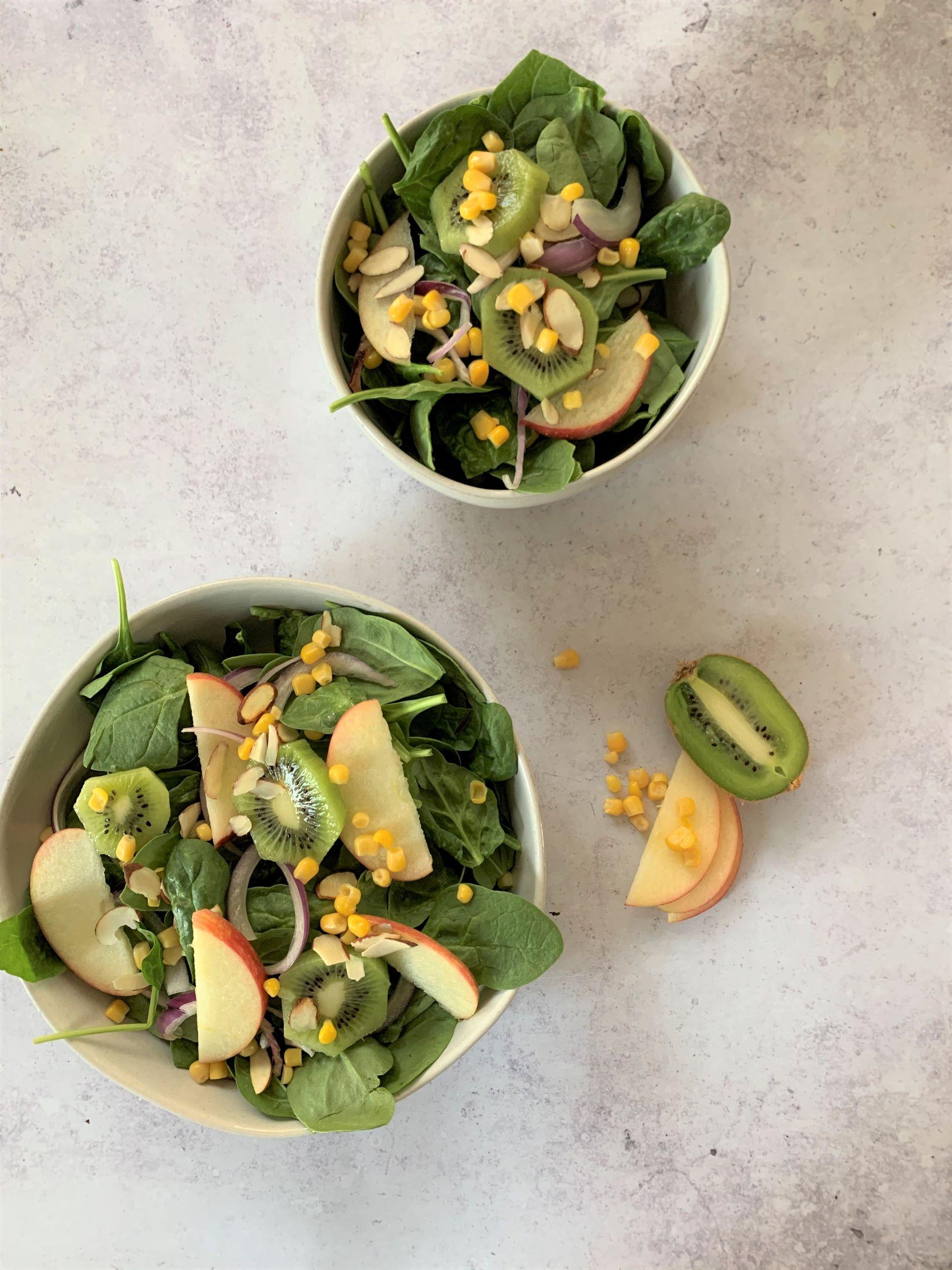 Kiwi Apple Spinach Salad