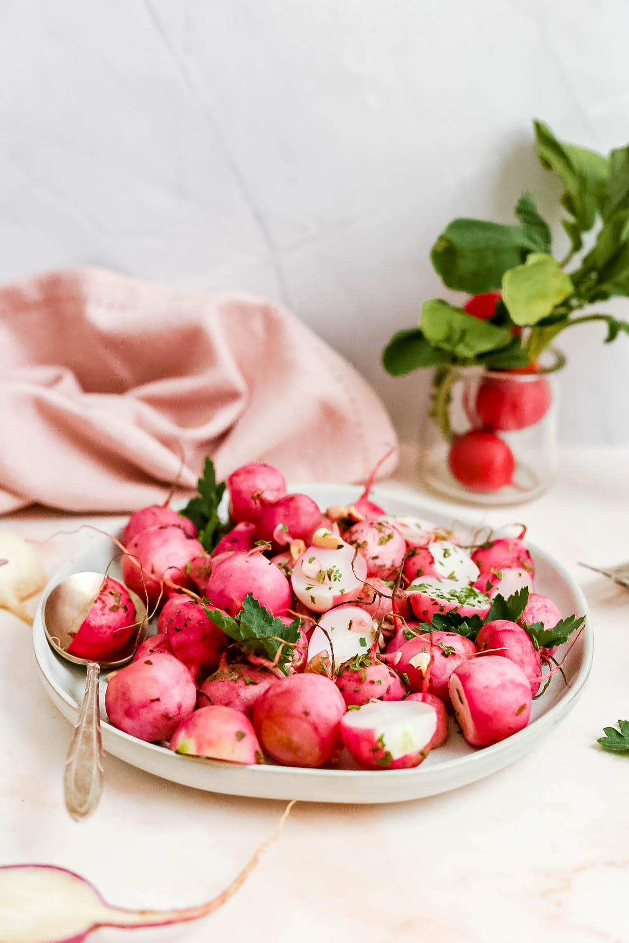Garlic Parsley Roasted Radishes