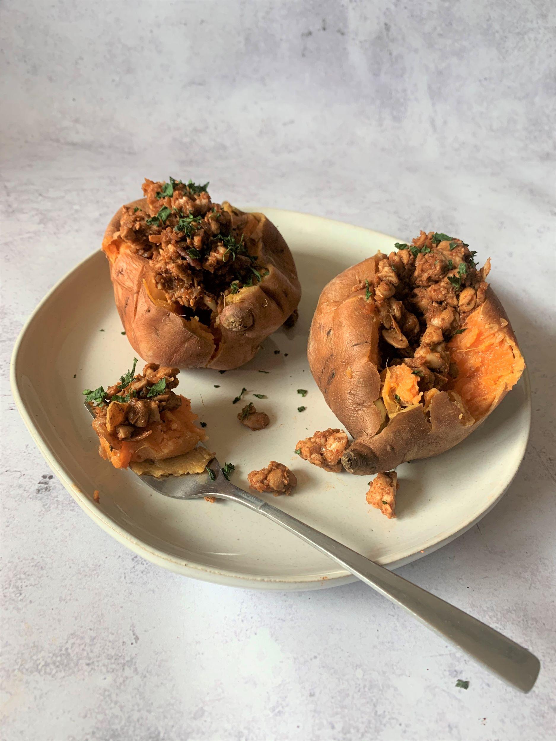 Tempeh Stuffed Sweet Potatoes