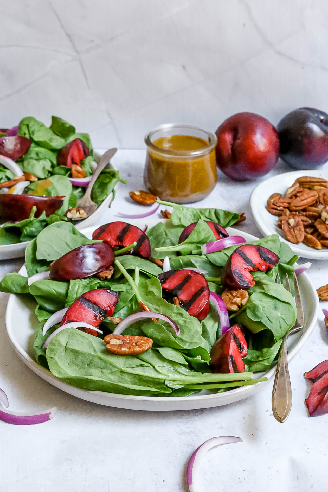 Grilled Plum Spinach Salad
