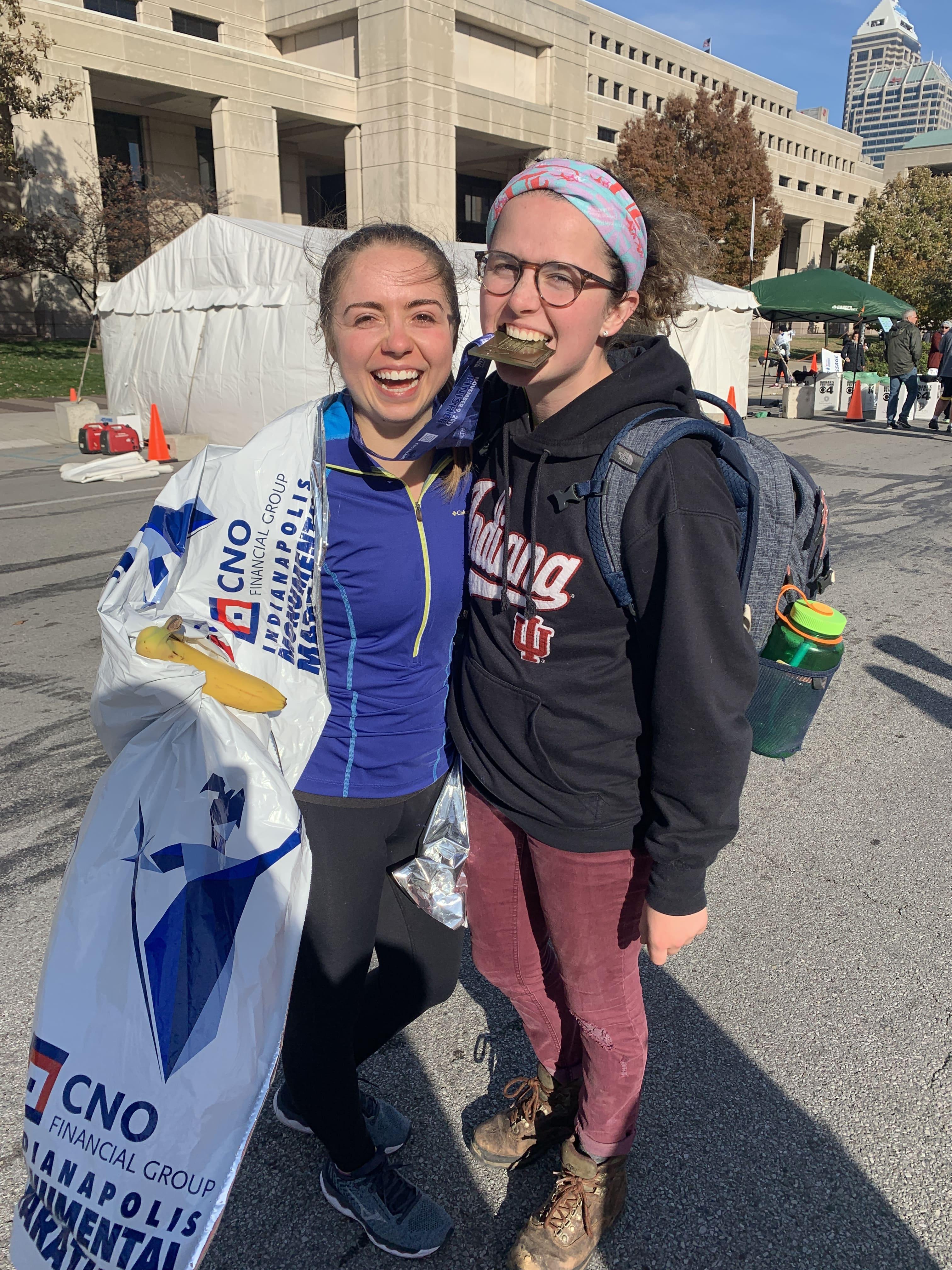 Elizabeth and Lauren after the marathon