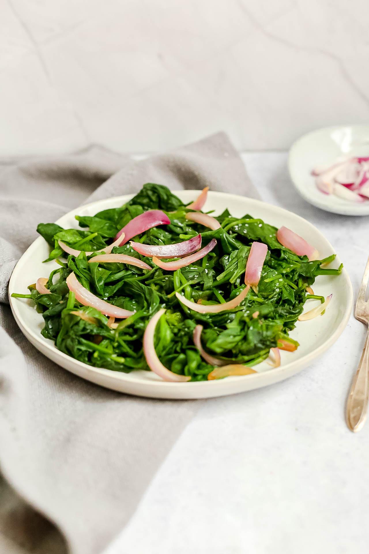 oil-free sautéed spinach