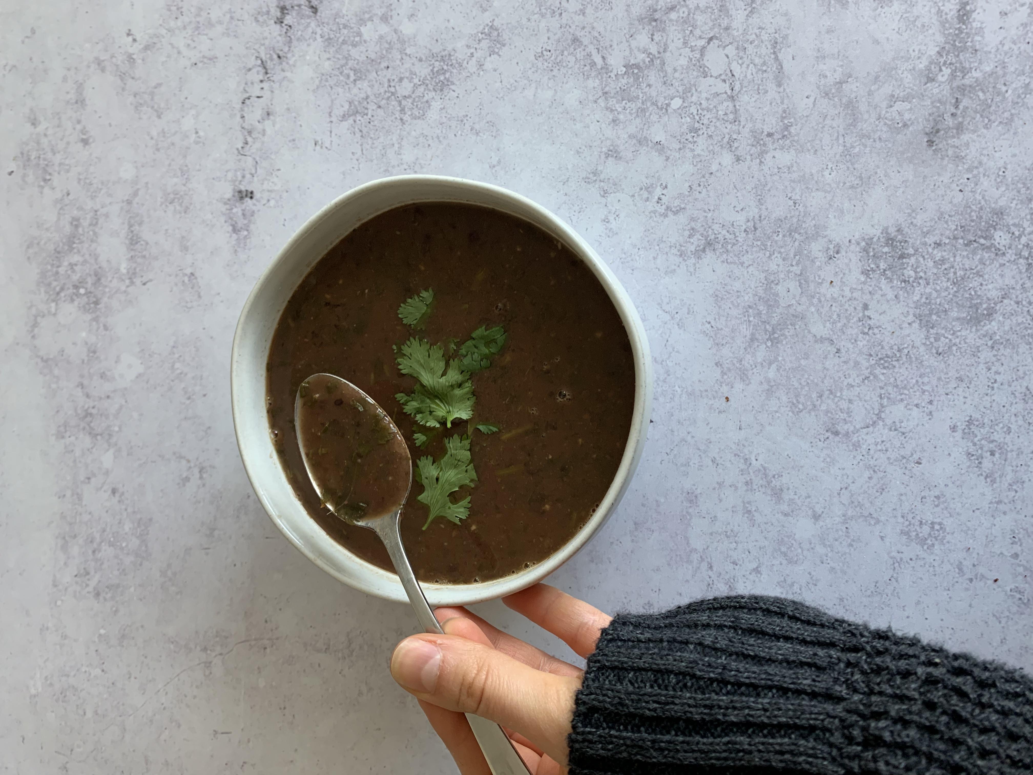 Cilantro Lemon Black Bean Soup