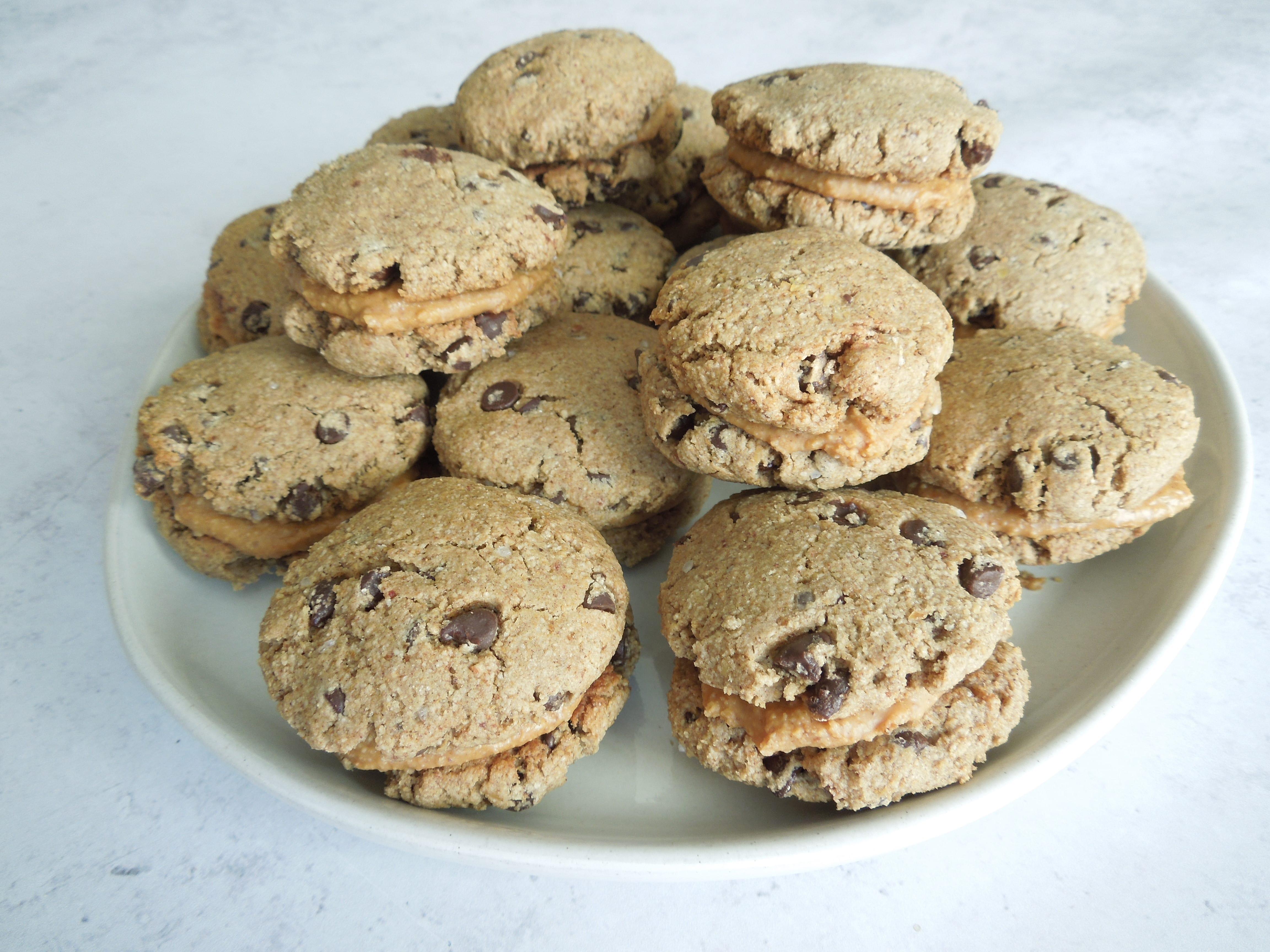 Vegan Chocolate Chip Cookie Peanut Butter Sandwiches