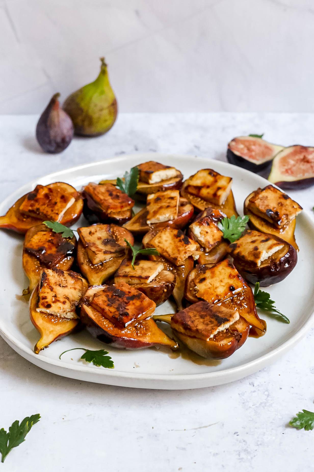Tofu Bacon Topped Figs