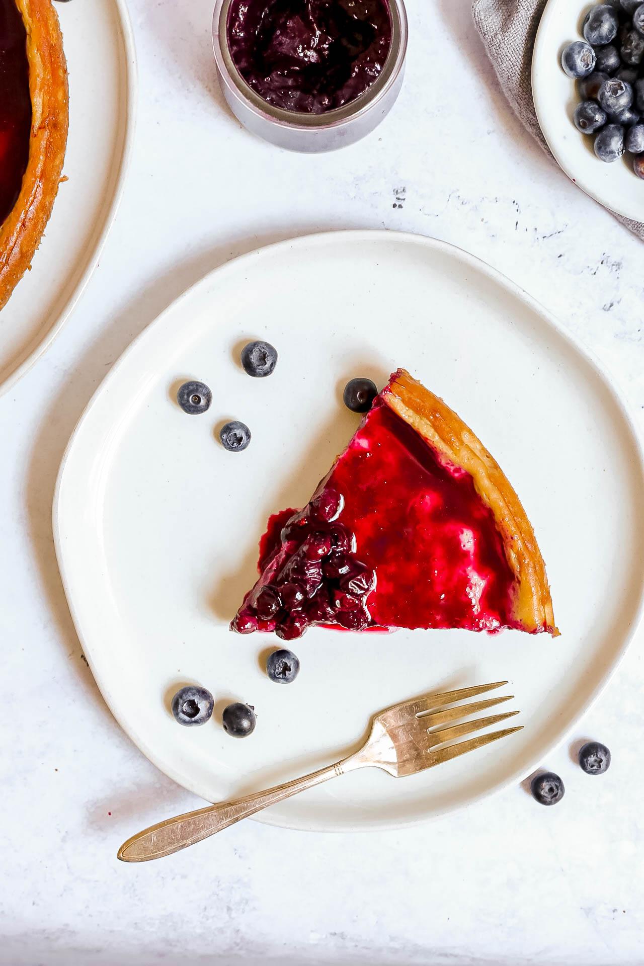 Plant-Based Baked Blueberry Cheesecake