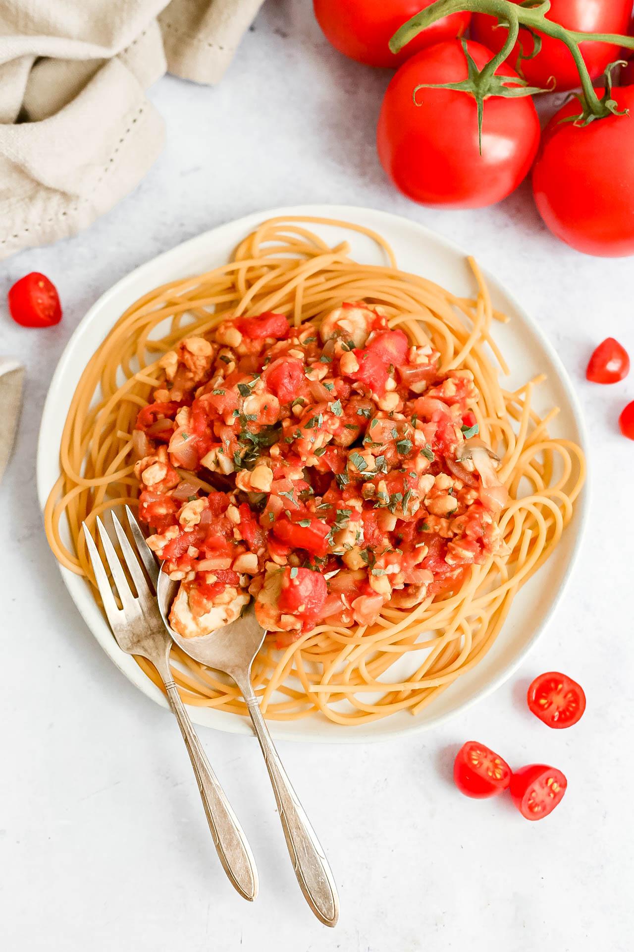 Plant-Based Garlic Mushroom Red Sauce