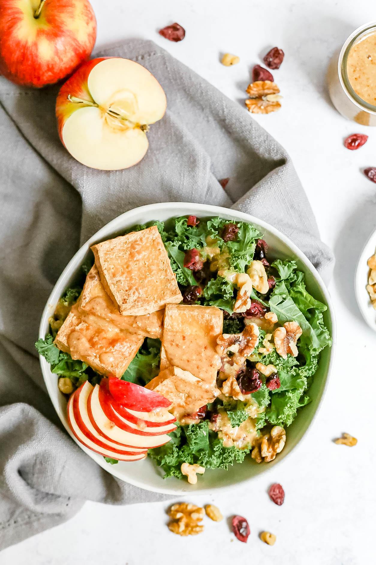 Apple Tofu Kale Salad