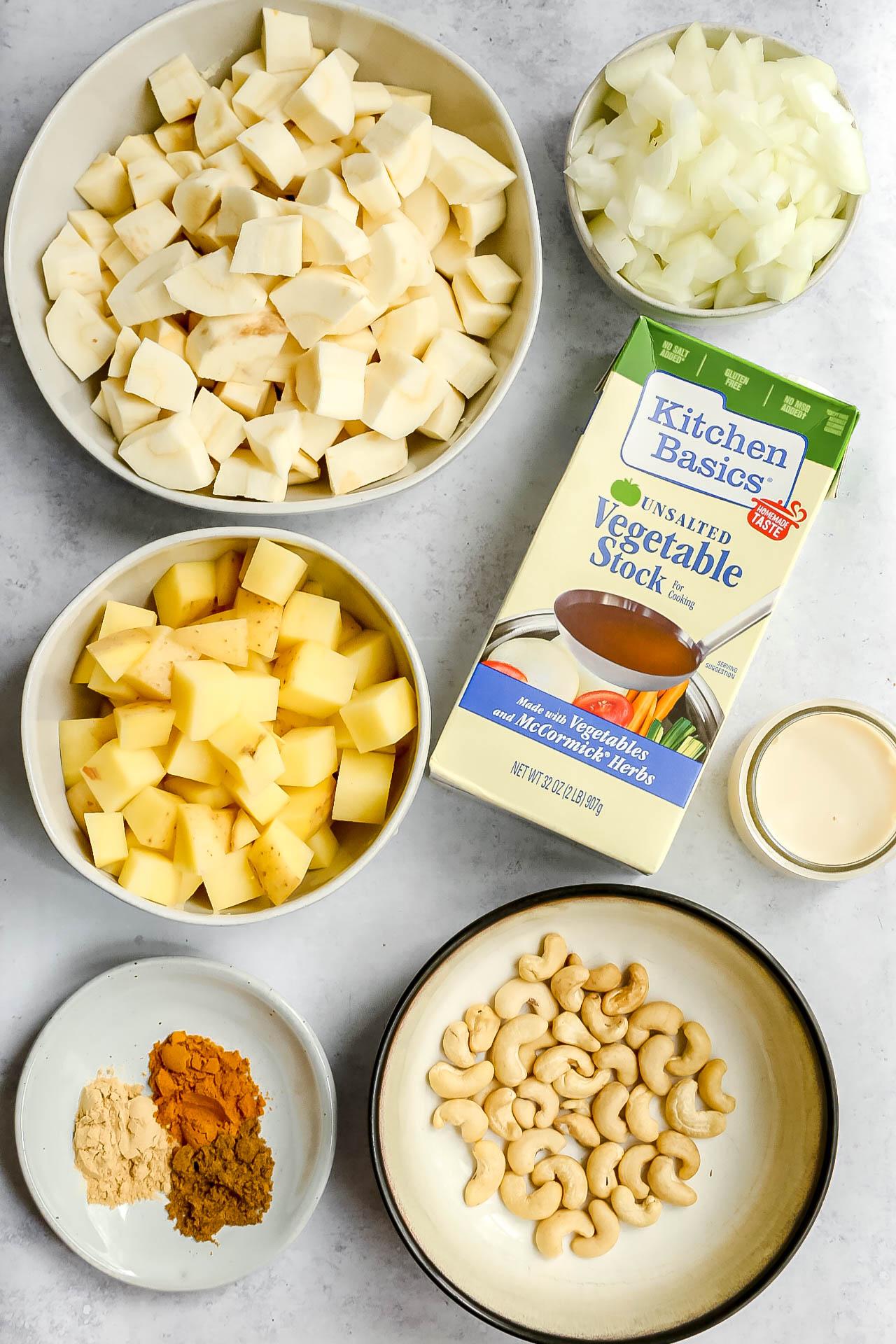 Plant-Based Curried Parsnip Soup Ingredients