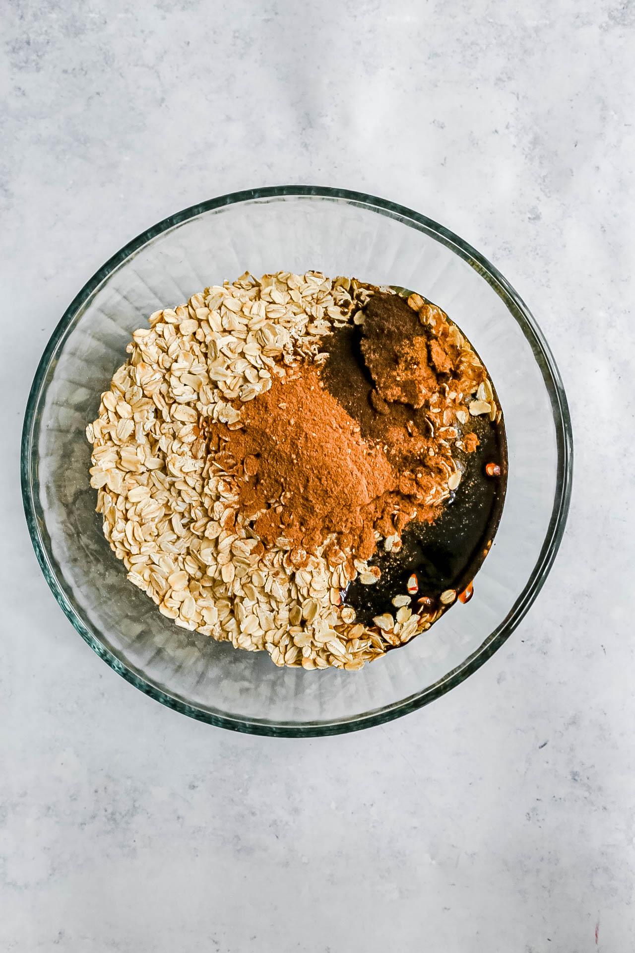 Pumpkin Spice Latte Granola Ingredients in a bowl