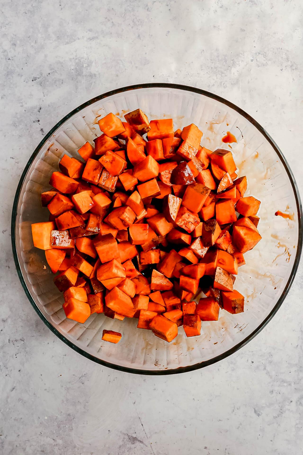 Bourbon Glazed Sweet Potatoes in bowl