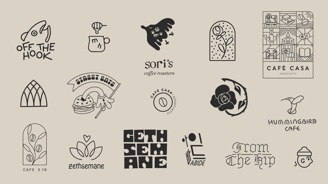 A collection of logo designs on a taupe coloured background.