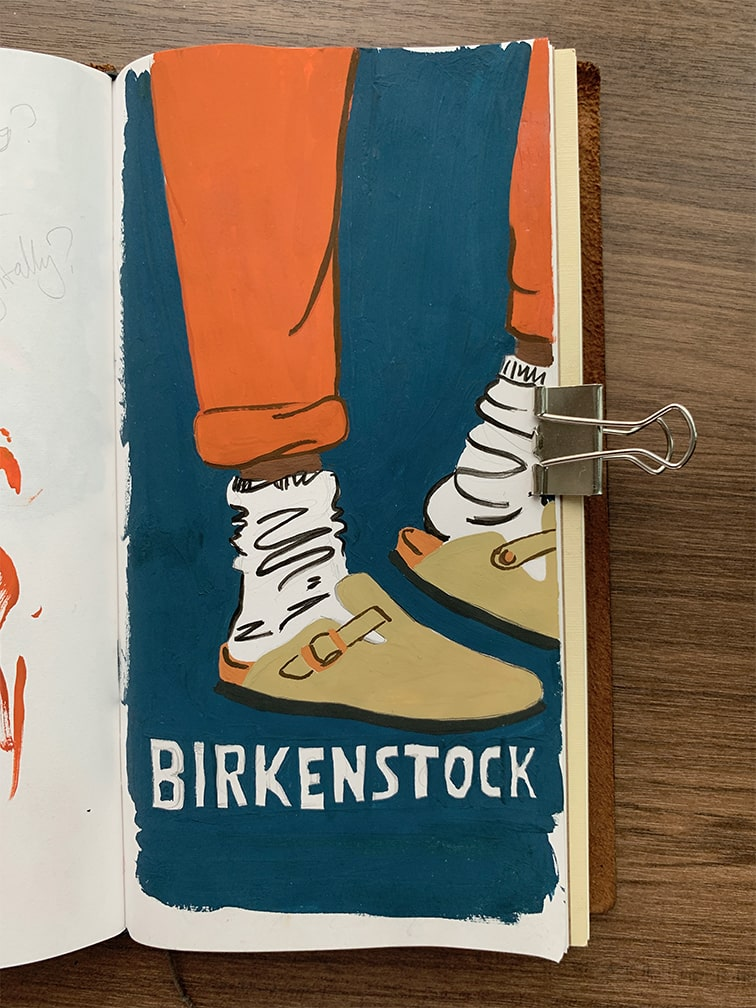 A painting of a pair of Birkenstocks and the word 'Birkenstock'