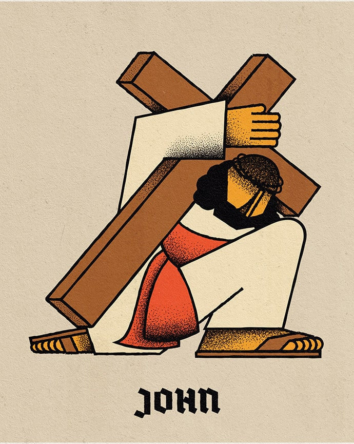 Jesus carrying a cross on his back in a stylised illustration