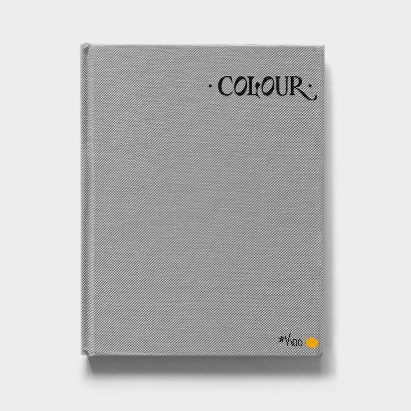 A grey cloth-bound book with 'Colour' embossed on it