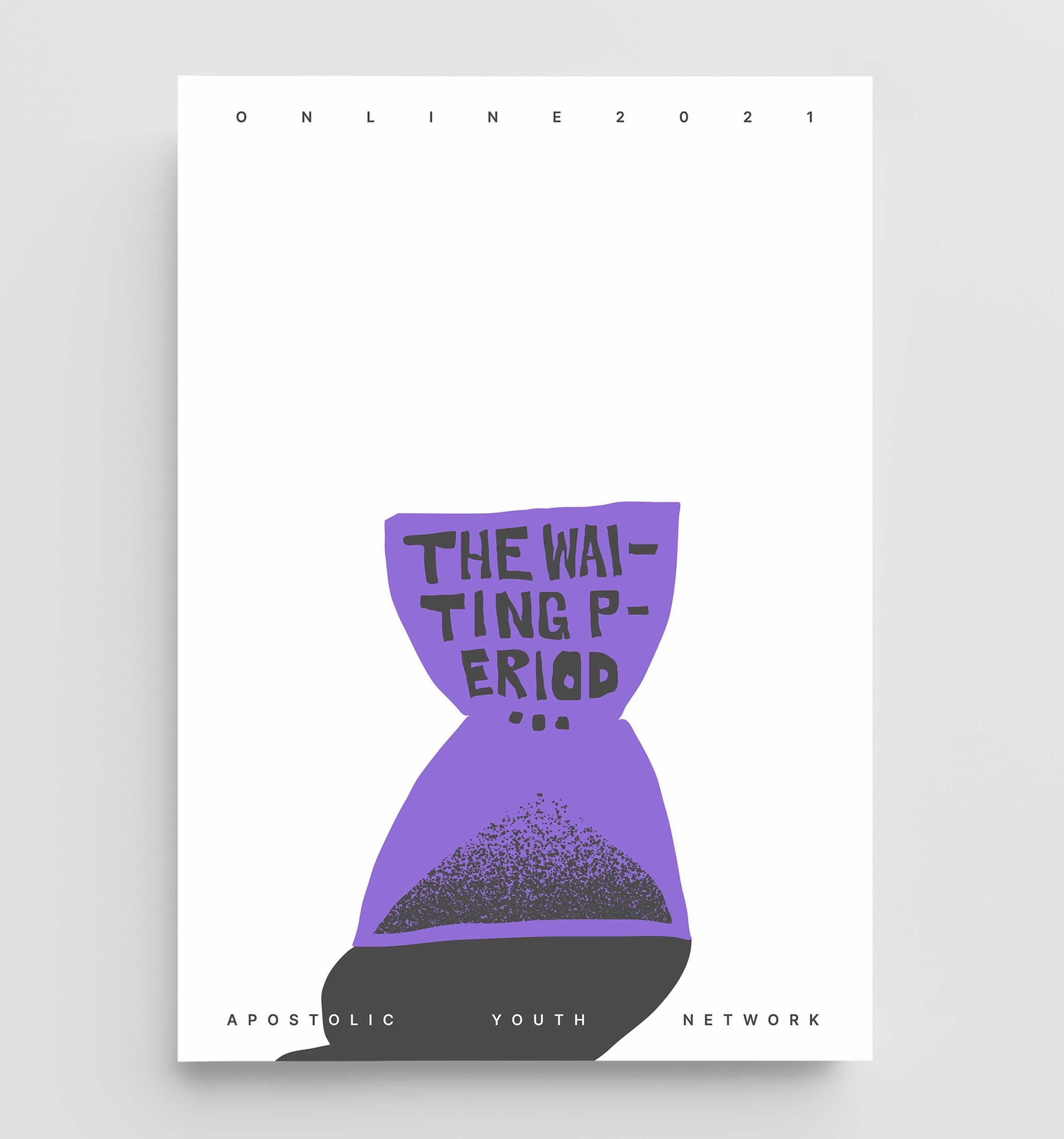 A poster depicting a purple abstract hourglass