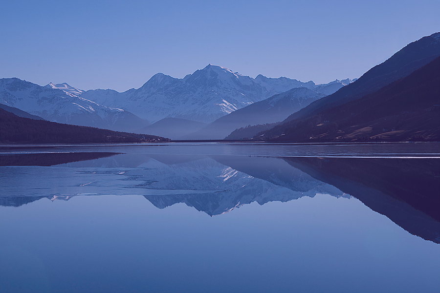 Mountains and water, blue toned