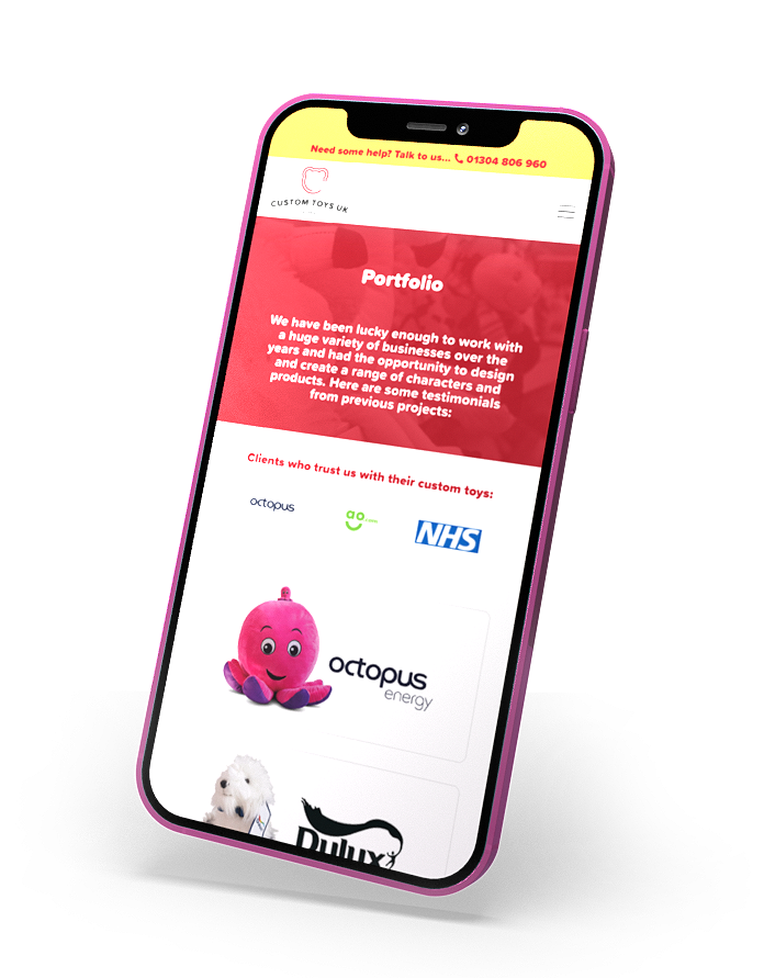 An iPhone displaying the Custom Toys UK website