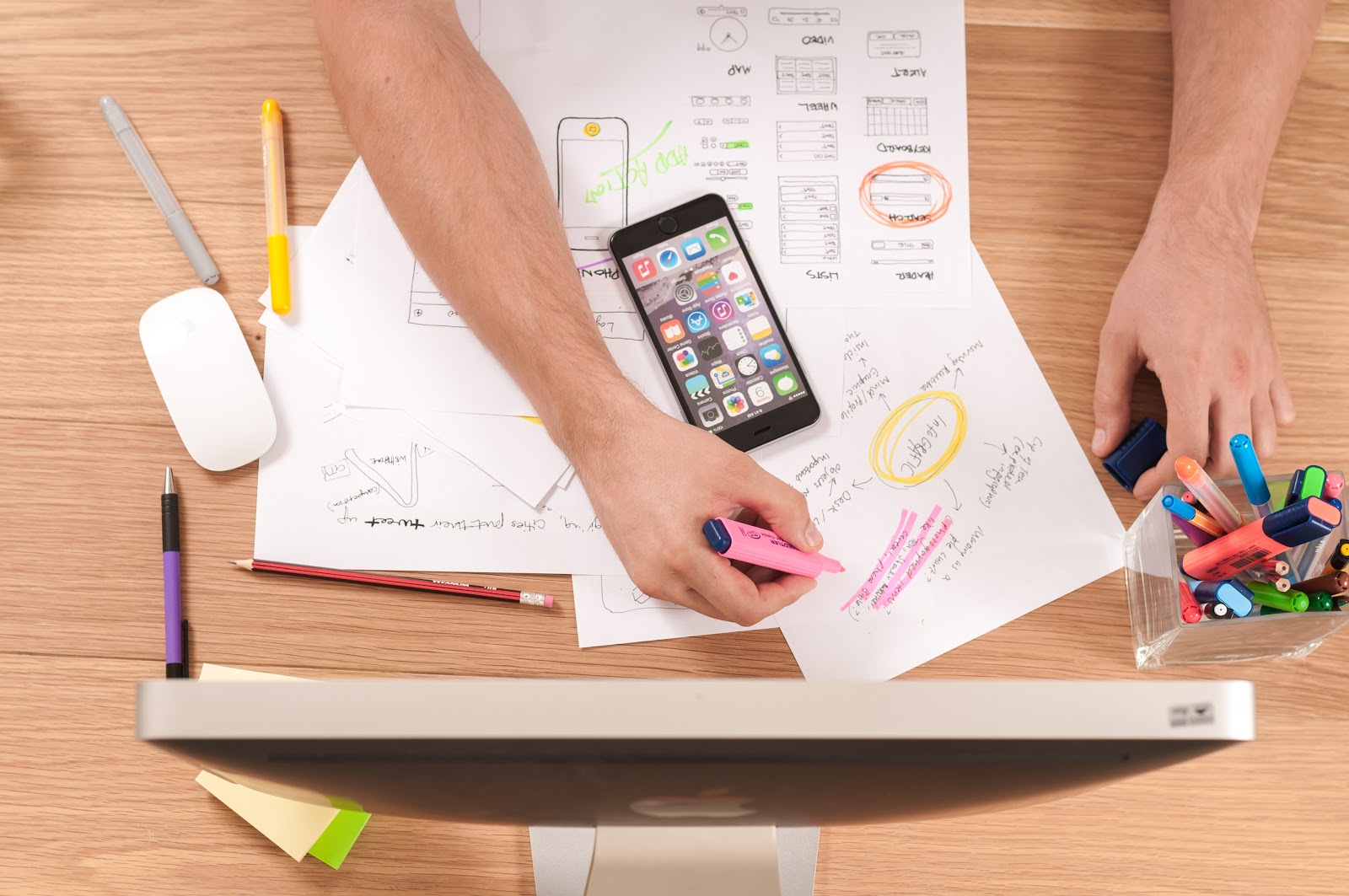 The design thinking process entails research, prototyping, and testing.