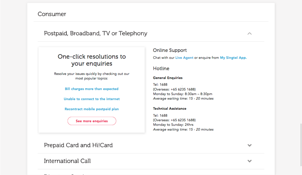 Singtel's new support page has a visual hierarchy that highlights self-serve treatments and deprioritises the hotline