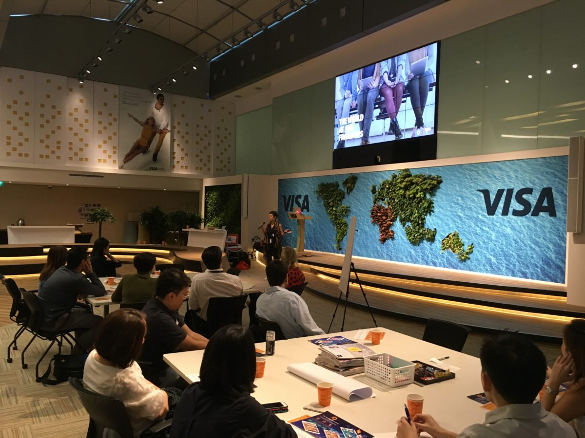 Karin Aue presenting at Visa