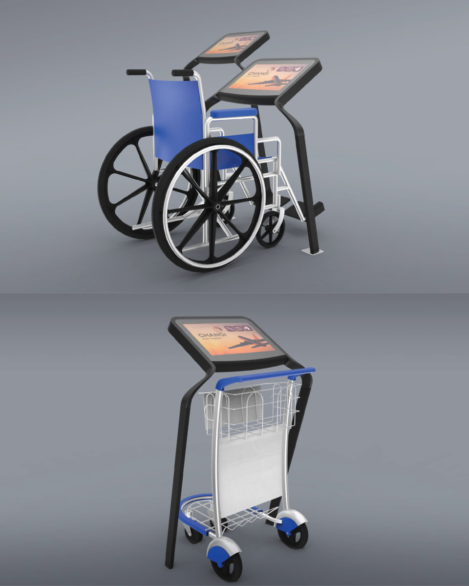 """Chemistry team, stakeholder engagment for Changi Airport's internet kiosks informed the final design. Kiosks are designed to ensure wheelchair accessibility and baggage security via """"the Boomerang"""" design."""
