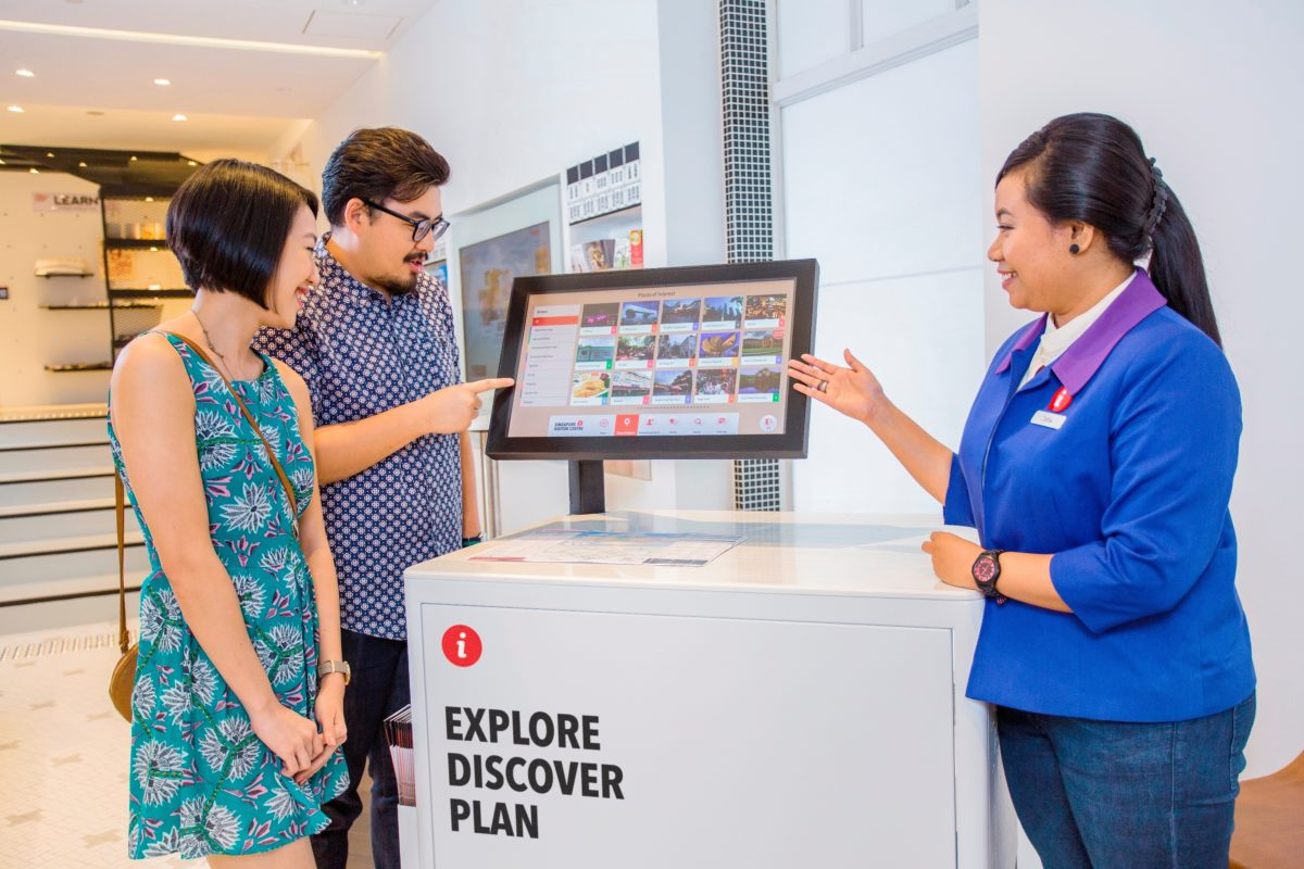 usability testing of the new UI design of the kiosks at singapore tourism board's new singapore visitors' centre.