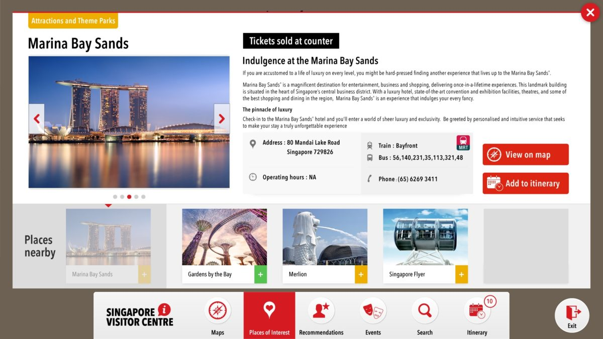 Chemistry Team's work on the content strategy and UI for Singapore Visitor's Centre's kiosk