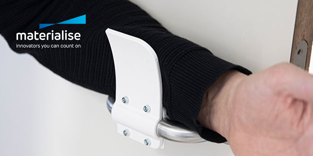Materise's open-sourced design for a door handle attachment that prevents skin contact with the door handle