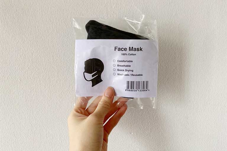 A mask from the first batch of reusable masks distributed by the Singapore government.
