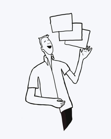 An illustration of a man, waving papers in his hand.