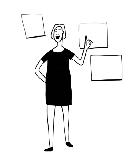 An illustration of a woman conducting a training session.