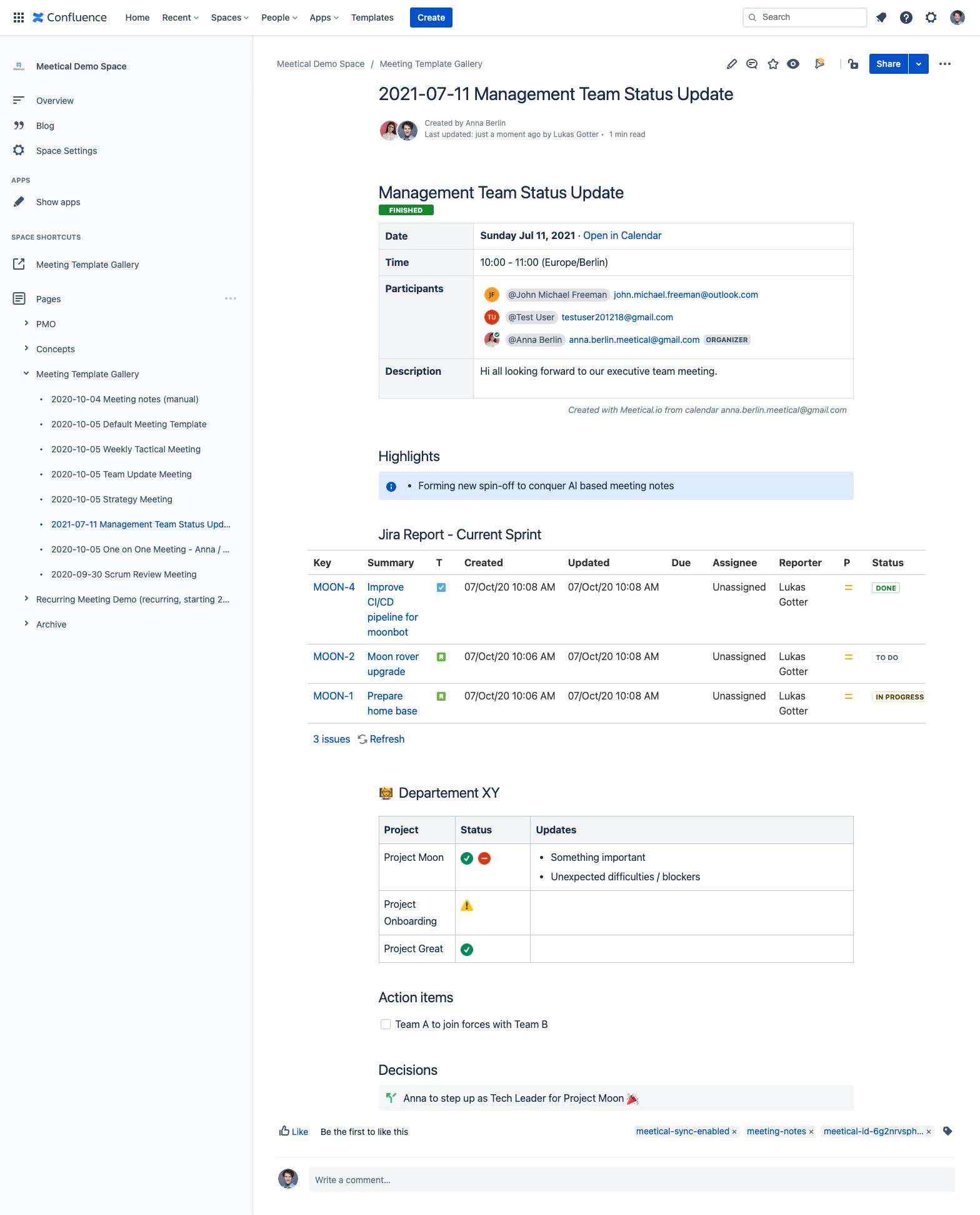 management-status-update
