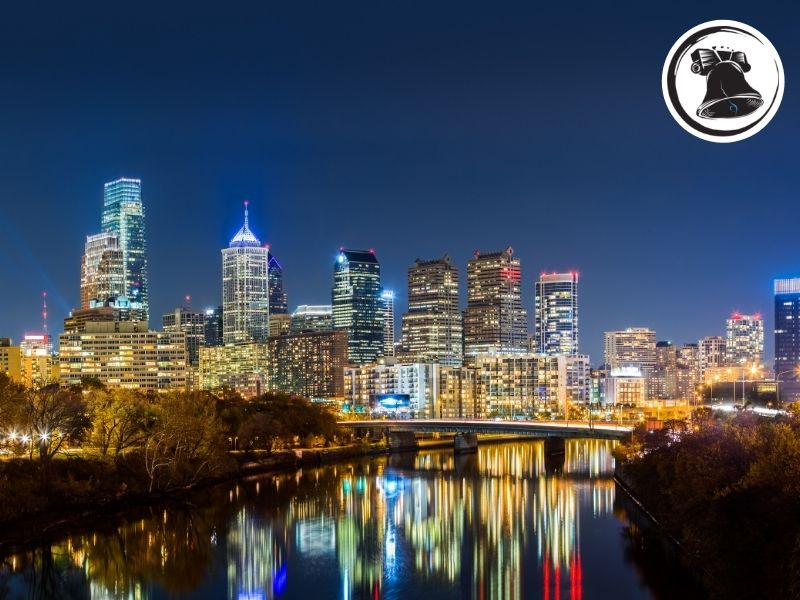 Philadelphia Night Skyline Recovery Home View