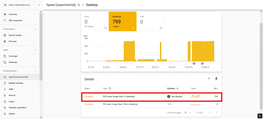 Google Search Console Speed Update - relatório de velocidade