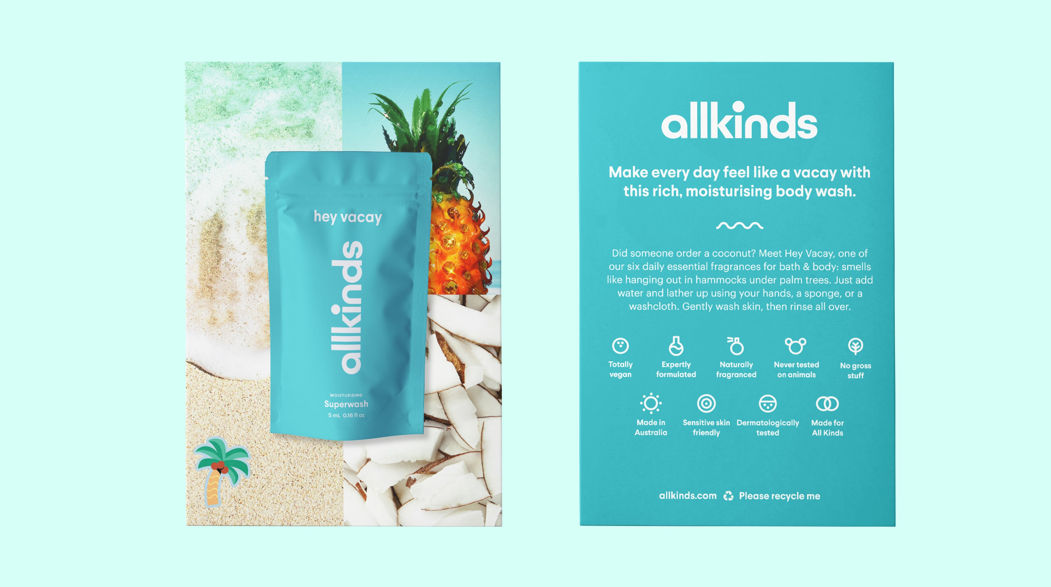 Allkinds Hey Vacay Superwash sample and sampling card packaging for retail distribution